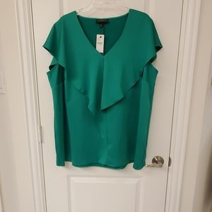 Emerald green short sleeve blouse
